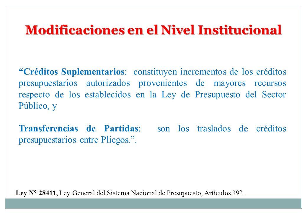 Modificaciones en el Nivel Institucional Créditos Suplementarios: constituyen incrementos de los créditos presupuestarios autorizados provenientes de
