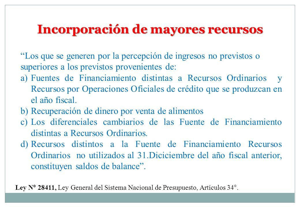Incorporación de mayores recursos Los que se generen por la percepción de ingresos no previstos o superiores a los previstos provenientes de: a) Fuent
