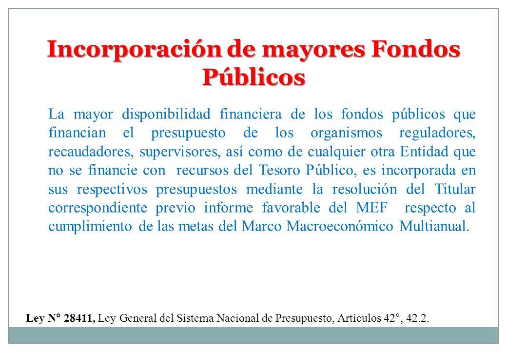 Incorporación de mayores Fondos Públicos Ley N° 28411, Ley General del Sistema Nacional de Presupuesto, Artículos 42°, 42.2. La mayor disponibilidad f