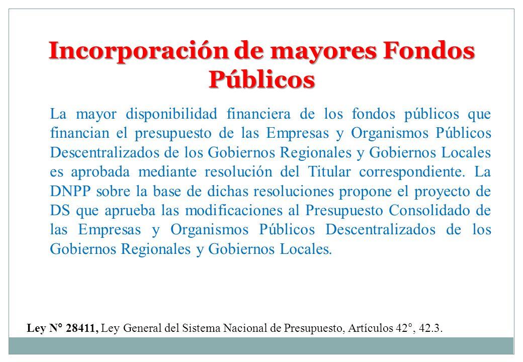 Incorporación de mayores Fondos Públicos Ley N° 28411, Ley General del Sistema Nacional de Presupuesto, Artículos 42°, 42.3. La mayor disponibilidad f