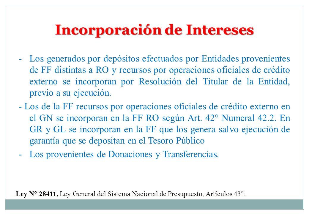 Incorporación de Intereses Ley N° 28411, Ley General del Sistema Nacional de Presupuesto, Artículos 43°. -Los generados por depósitos efectuados por E