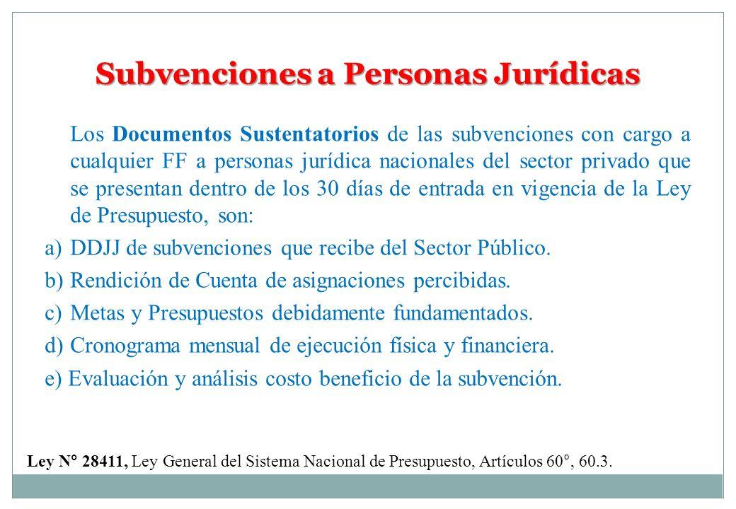 Subvenciones a Personas Jurídicas Ley N° 28411, Ley General del Sistema Nacional de Presupuesto, Artículos 60°, 60.3. Los Documentos Sustentatorios de