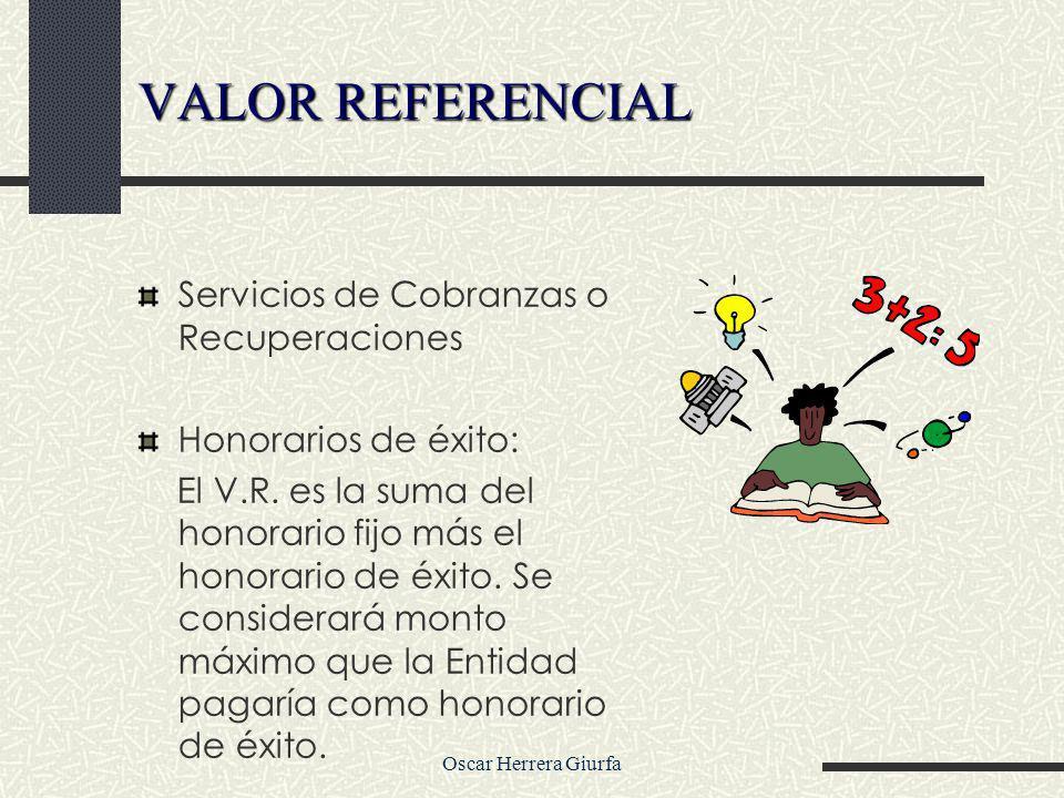 Oscar Herrera Giurfa Servicios de Cobranzas o Recuperaciones Honorarios de éxito: El V.R. es la suma del honorario fijo más el honorario de éxito. Se