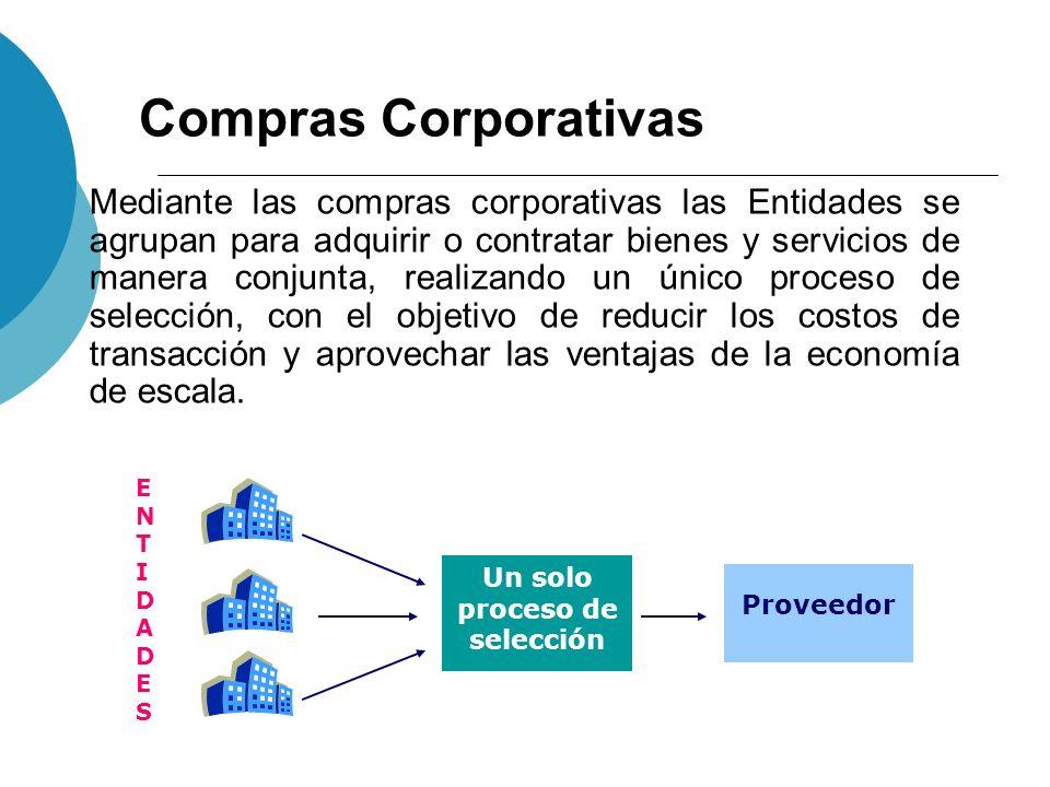 Compras Corporativas Mediante las compras corporativas las Entidades se agrupan para adquirir o contratar bienes y servicios de manera conjunta, reali