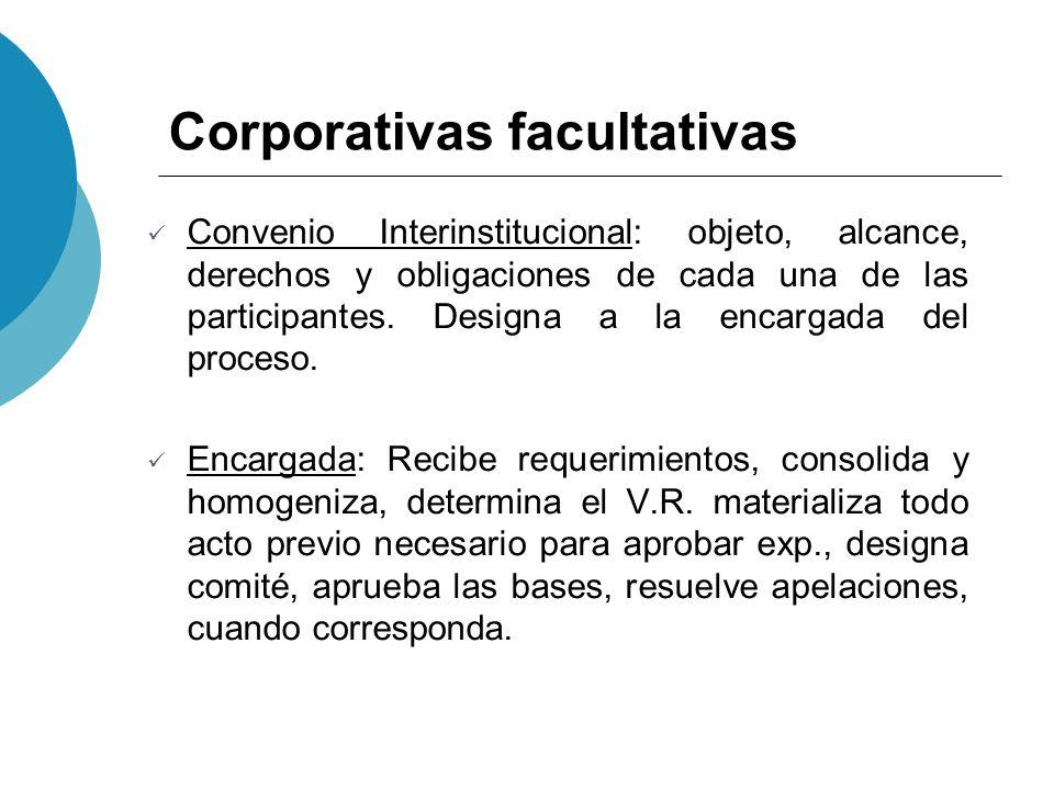 Corporativas facultativas Convenio Interinstitucional: objeto, alcance, derechos y obligaciones de cada una de las participantes. Designa a la encarga