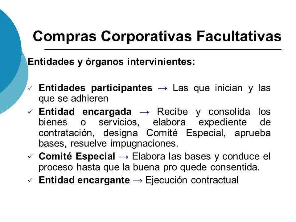 Compras Corporativas Facultativas Entidades y órganos intervinientes: Entidades participantes Las que inician y las que se adhieren Entidad encargada