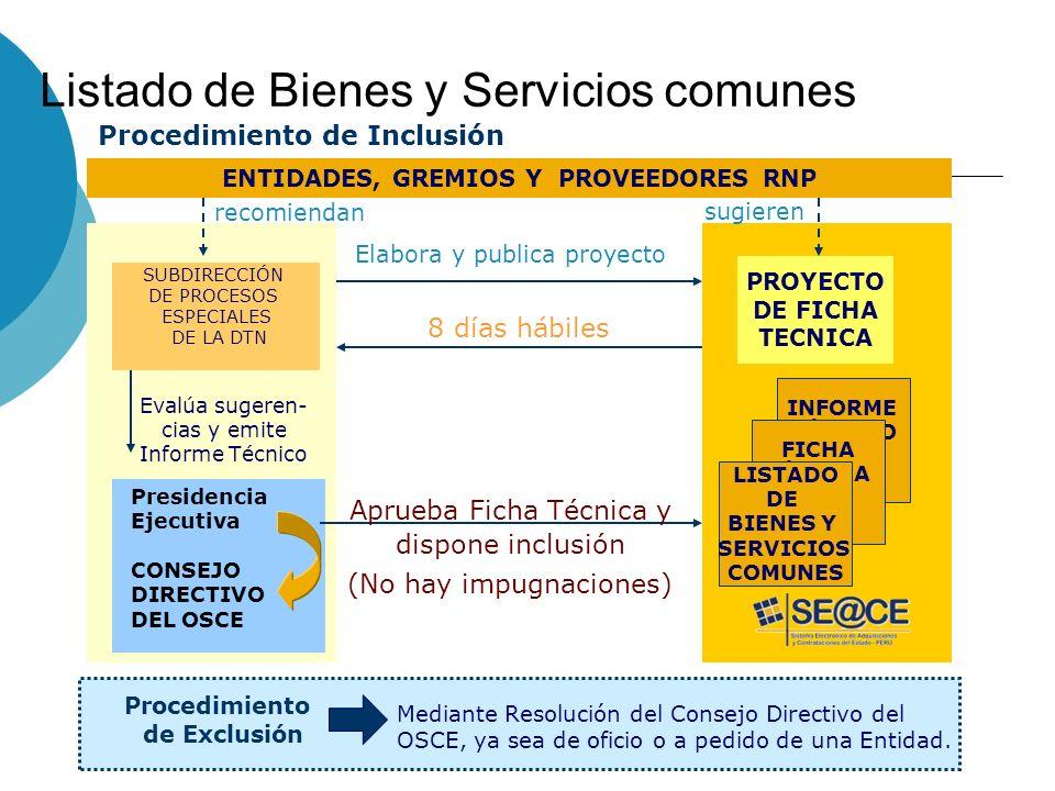 Listado de Bienes y Servicios comunes SUBDIRECCIÓN DE PROCESOS ESPECIALES DE LA DTN Evalúa sugeren- cias y emite Informe Técnico ENTIDADES, GREMIOS Y