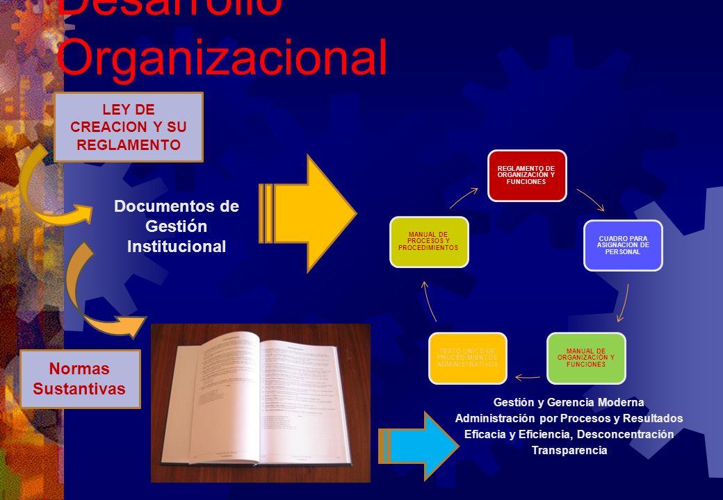 Desarrollo Organizacional Gestión y Gerencia Moderna Administración por Procesos y Resultados Eficacia y Eficiencia, Desconcentración Transparencia RE