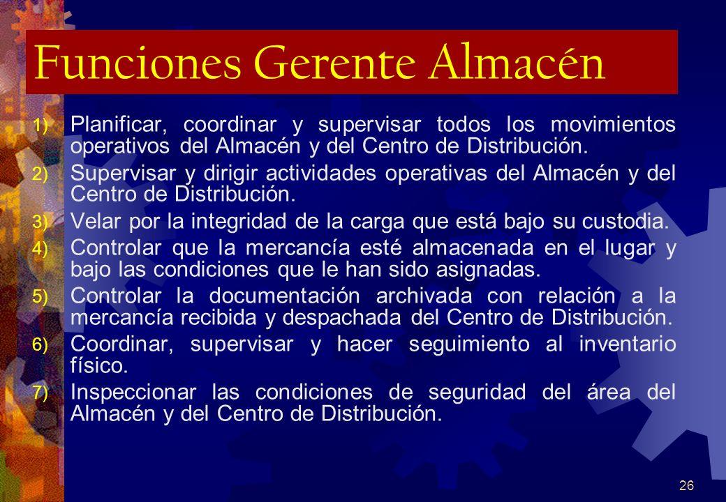 26 Funciones Gerente Almacén 1) Planificar, coordinar y supervisar todos los movimientos operativos del Almacén y del Centro de Distribución. 2) Super