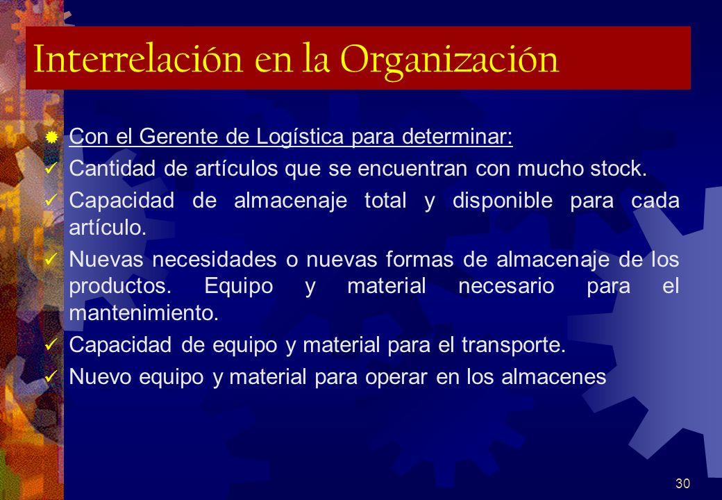 30 Interrelación en la Organización Con el Gerente de Logística para determinar: Cantidad de artículos que se encuentran con mucho stock. Capacidad de