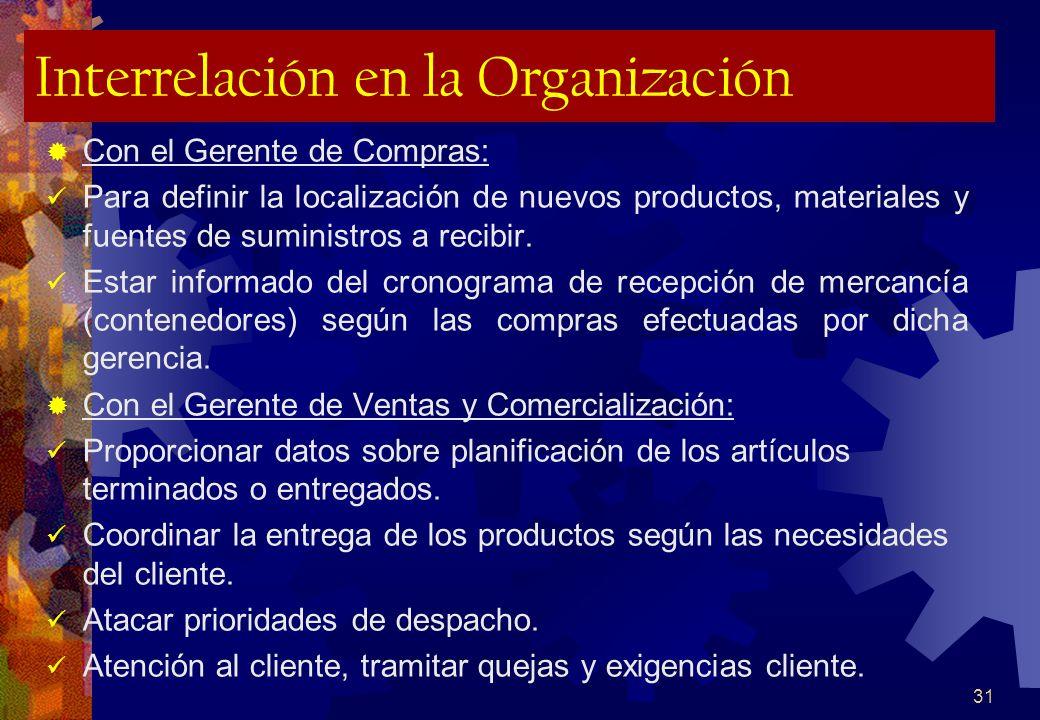 31 Interrelación en la Organización Con el Gerente de Compras: Para definir la localización de nuevos productos, materiales y fuentes de suministros a