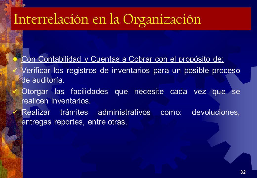 32 Interrelación en la Organización Con Contabilidad y Cuentas a Cobrar con el propósito de: Verificar los registros de inventarios para un posible pr