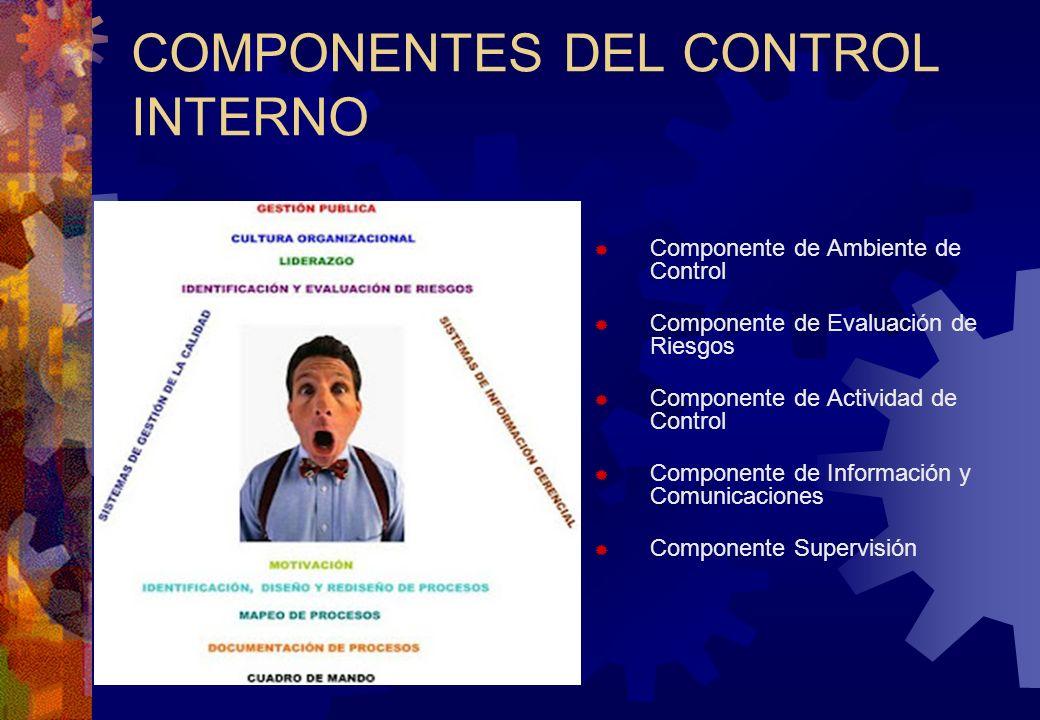 COMPONENTES DEL CONTROL INTERNO Componente de Ambiente de Control Componente de Evaluación de Riesgos Componente de Actividad de Control Componente de