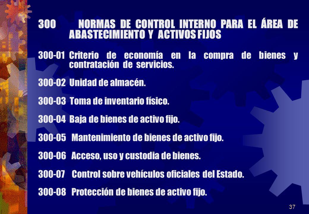 37 300 NORMAS DE CONTROL INTERNO PARA EL ÁREA DE ABASTECIMIENTO Y ACTIVOS FIJOS 300-01Criterio de economía en la compra de bienes y contratación de se