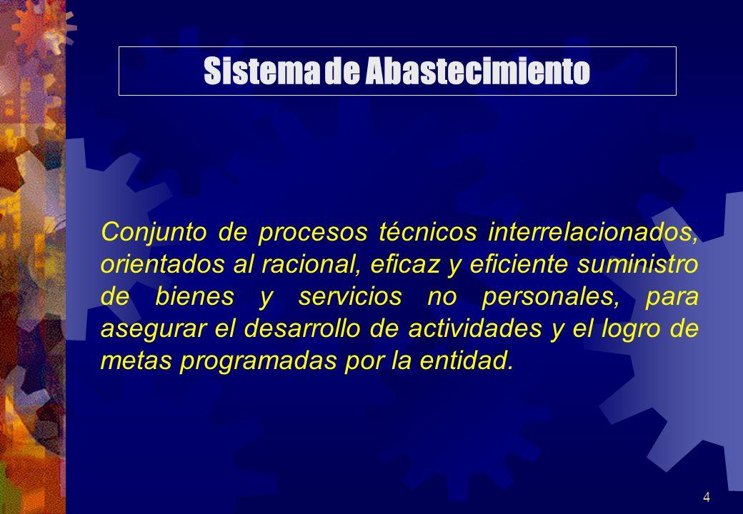4 Conjunto de procesos técnicos interrelacionados, orientados al racional, eficaz y eficiente suministro de bienes y servicios no personales, para ase