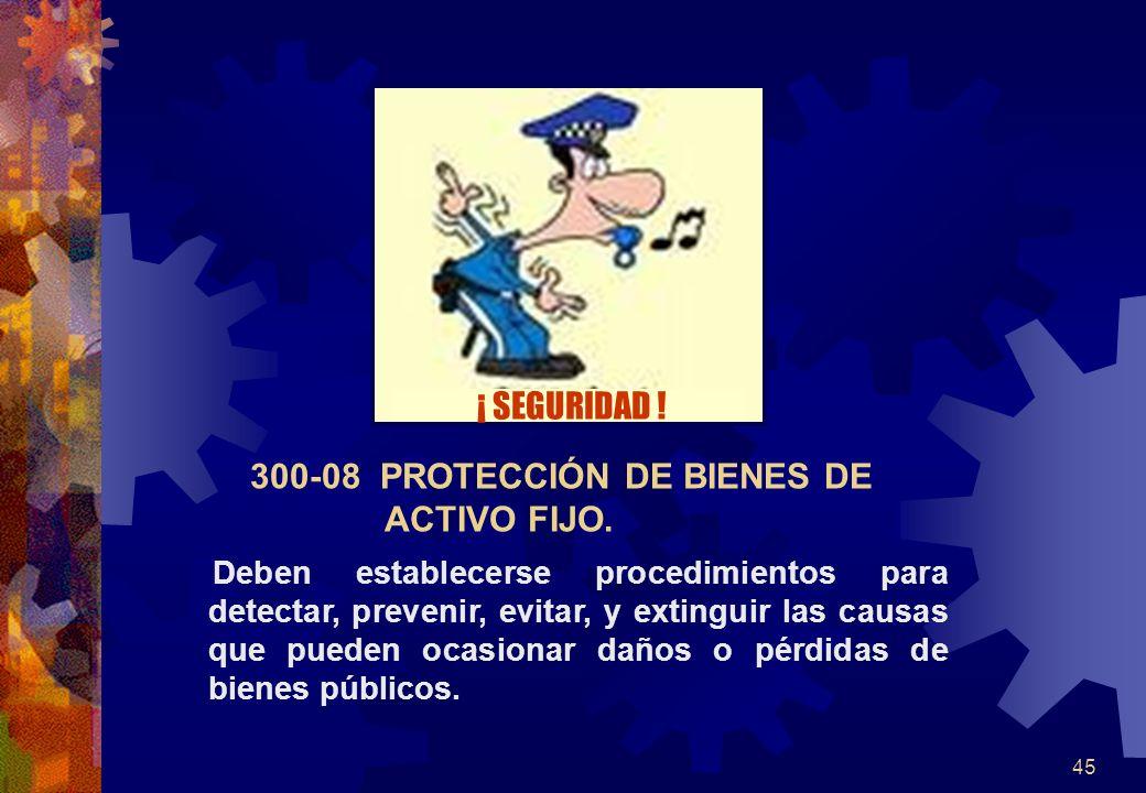 45 300-08 PROTECCIÓN DE BIENES DE ACTIVO FIJO. Deben establecerse procedimientos para detectar, prevenir, evitar, y extinguir las causas que pueden oc
