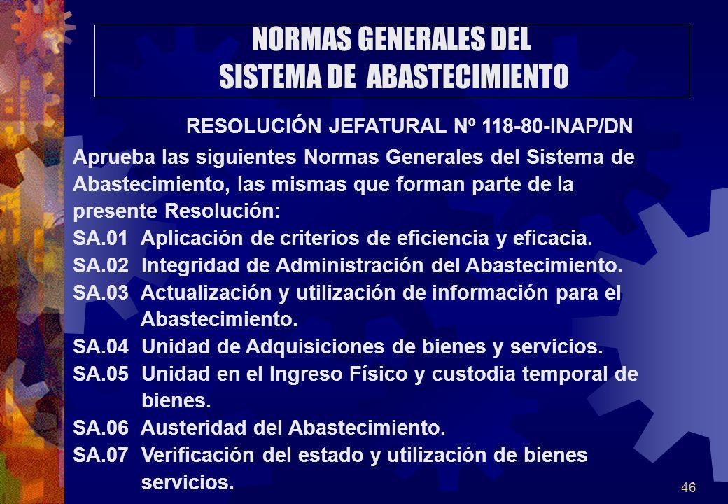 46 NORMAS GENERALES DEL SISTEMA DE ABASTECIMIENTO RESOLUCIÓN JEFATURAL Nº 118-80-INAP/DN Aprueba las siguientes Normas Generales del Sistema de Abaste