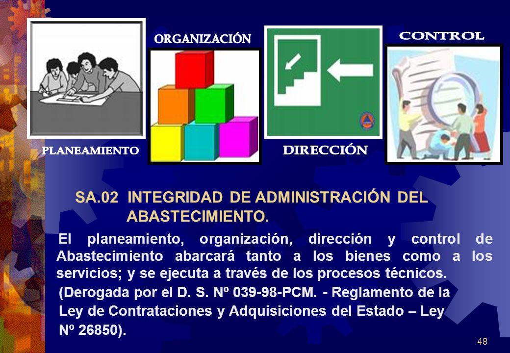 48 SA.02 INTEGRIDAD DE ADMINISTRACIÓN DEL ABASTECIMIENTO. El planeamiento, organización, dirección y control de Abastecimiento abarcará tanto a los bi