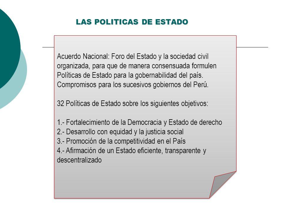 LAS POLITICAS DE ESTADO Acuerdo Nacional: Foro del Estado y la sociedad civil organizada, para que de manera consensuada formulen Políticas de Estado