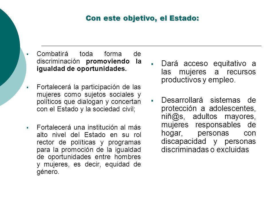 Con este objetivo, el Estado: Combatirá toda forma de discriminación promoviendo la igualdad de oportunidades. Fortalecerá la participación de las muj
