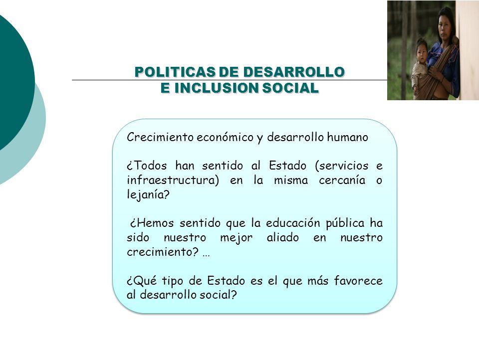 POLITICAS DE DESARROLLO E INCLUSION SOCIAL Crecimiento económico y desarrollo humano ¿Todos han sentido al Estado (servicios e infraestructura) en la