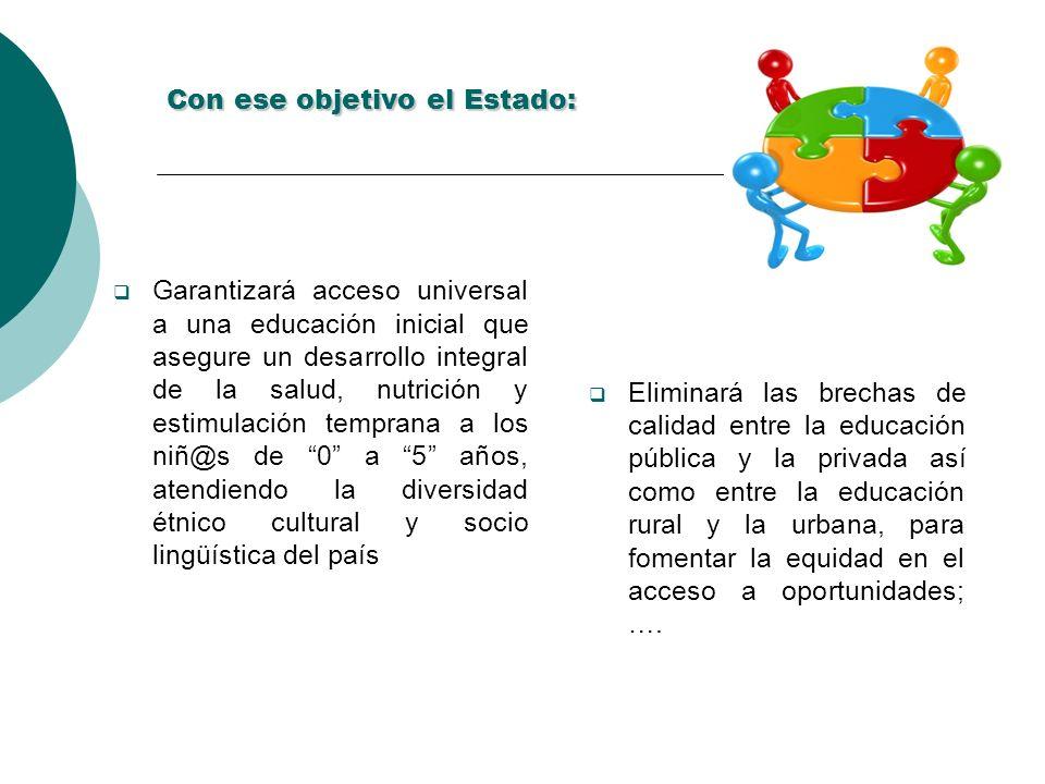 Con ese objetivo el Estado: Garantizará acceso universal a una educación inicial que asegure un desarrollo integral de la salud, nutrición y estimulac