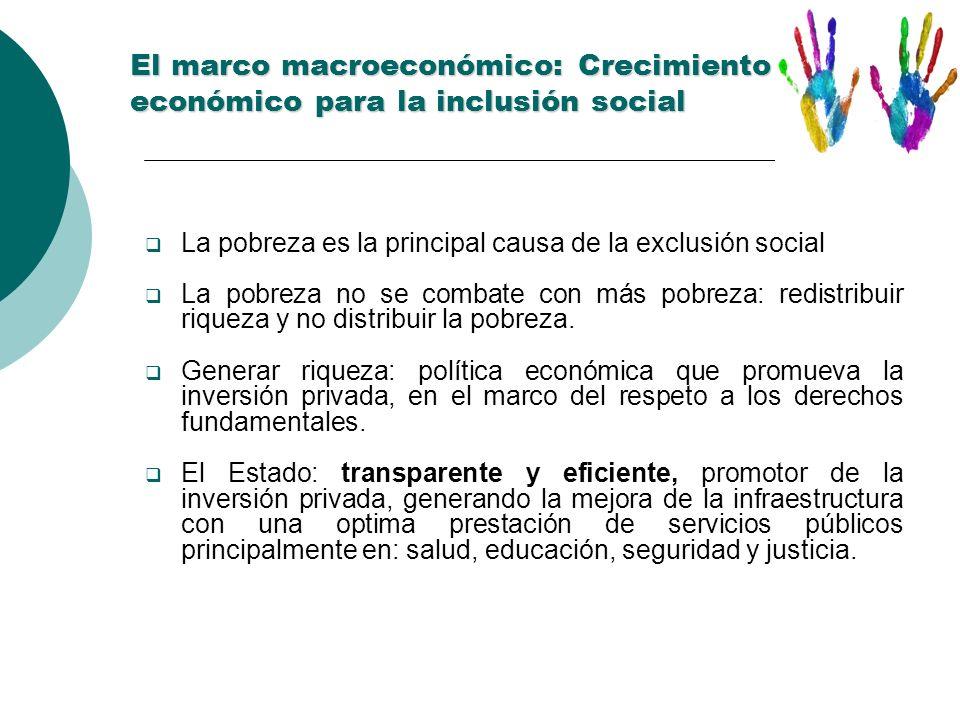 El marco macroeconómico: Crecimiento económico para la inclusión social El marco macroeconómico: Crecimiento económico para la inclusión social La pob