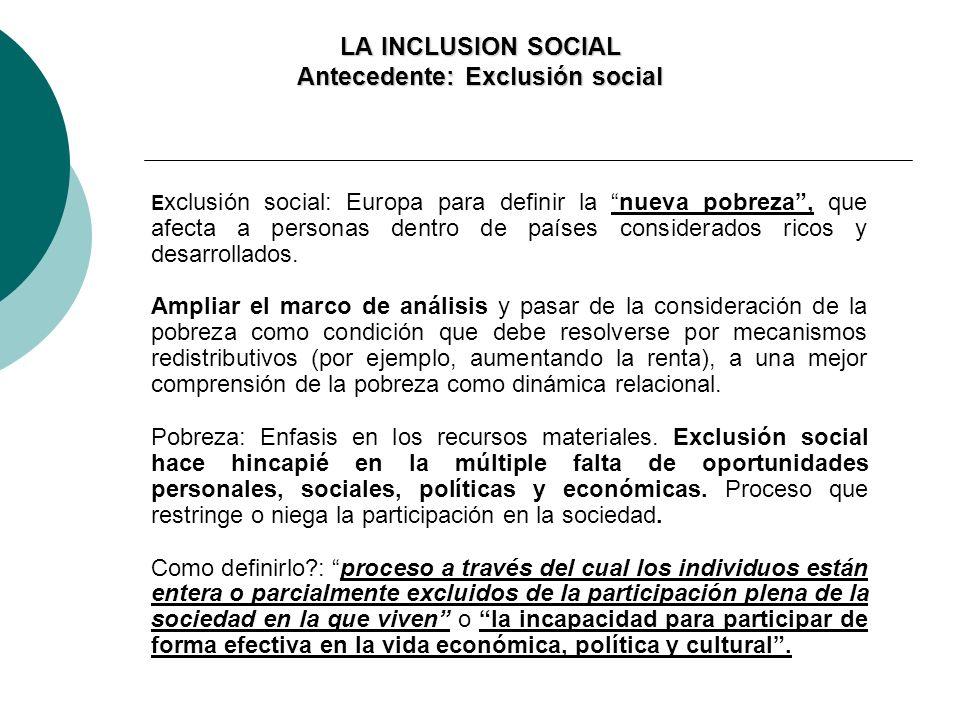 LA INCLUSION SOCIAL Antecedente: Exclusión social E xclusión social: Europa para definir la nueva pobreza, que afecta a personas dentro de países cons