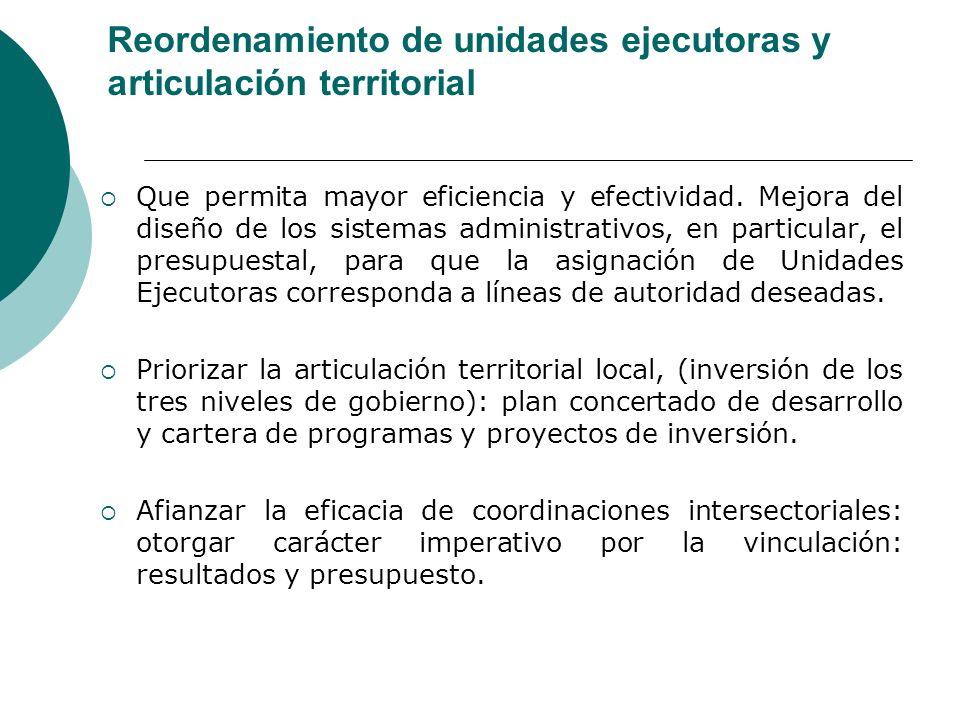 Reordenamiento de unidades ejecutoras y articulación territorial Que permita mayor eficiencia y efectividad. Mejora del diseño de los sistemas adminis