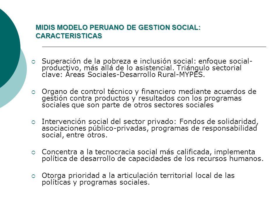 MIDIS MODELO PERUANO DE GESTION SOCIAL: CARACTERISTICAS MIDIS MODELO PERUANO DE GESTION SOCIAL: CARACTERISTICAS Superación de la pobreza e inclusión s