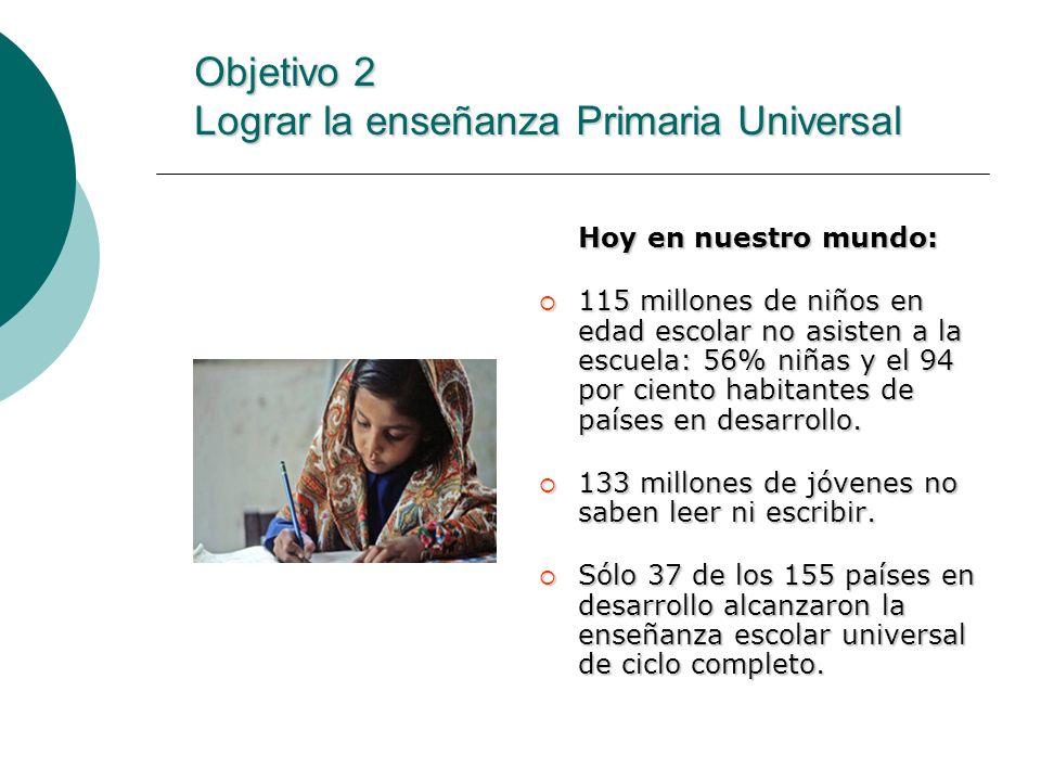 Objetivo 2 Lograr la enseñanza Primaria Universal Hoy en nuestro mundo: 115 millones de niños en edad escolar no asisten a la escuela: 56% niñas y el