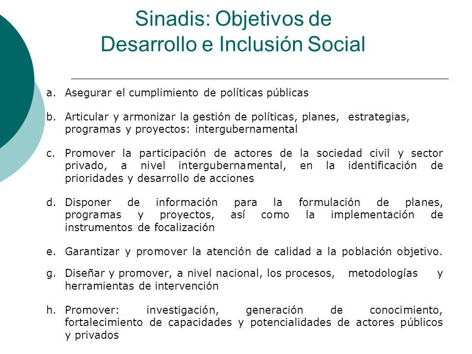 Sinadis: Objetivos de Desarrollo e Inclusión Social a.Asegurar el cumplimiento de políticas públicas b.Articular y armonizar la gestión de políticas,