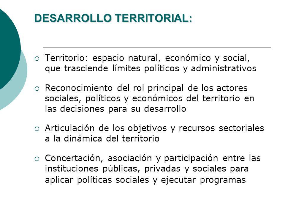 DESARROLLO TERRITORIAL: Territorio: espacio natural, económico y social, que trasciende límites políticos y administrativos Reconocimiento del rol pri
