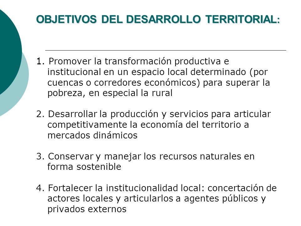 OBJETIVOS DEL DESARROLLO TERRITORIAL : 1. Promover la transformación productiva e institucional en un espacio local determinado (por cuencas o corredo