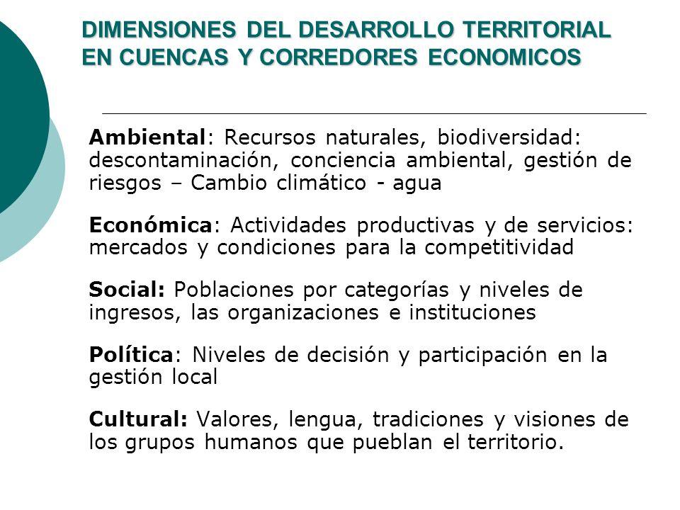 DIMENSIONES DEL DESARROLLO TERRITORIAL EN CUENCAS Y CORREDORES ECONOMICOS Ambiental: Recursos naturales, biodiversidad: descontaminación, conciencia a