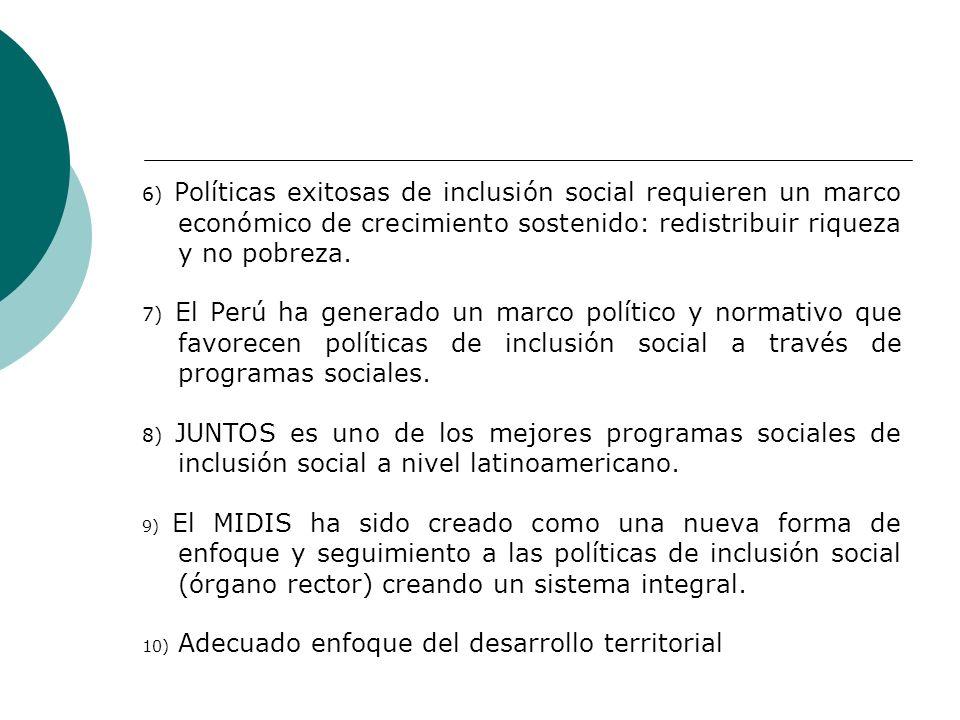 6) Políticas exitosas de inclusión social requieren un marco económico de crecimiento sostenido: redistribuir riqueza y no pobreza. 7) El Perú ha gene