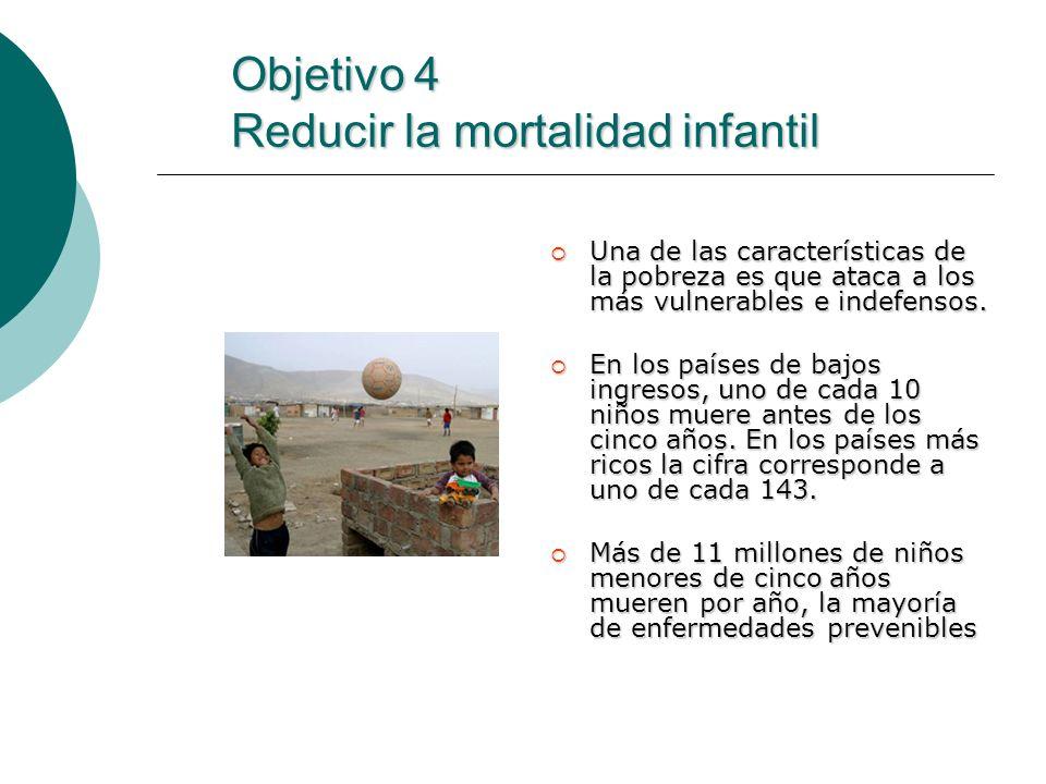 Objetivo 4 Reducir la mortalidad infantil Una de las características de la pobreza es que ataca a los más vulnerables e indefensos. Una de las caracte