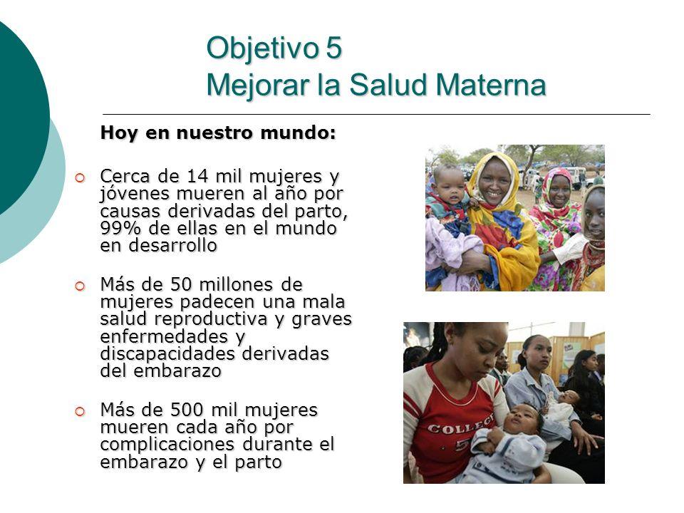Objetivo 5 Mejorar la Salud Materna Hoy en nuestro mundo: Cerca de 14 mil mujeres y jóvenes mueren al año por causas derivadas del parto, 99% de ellas