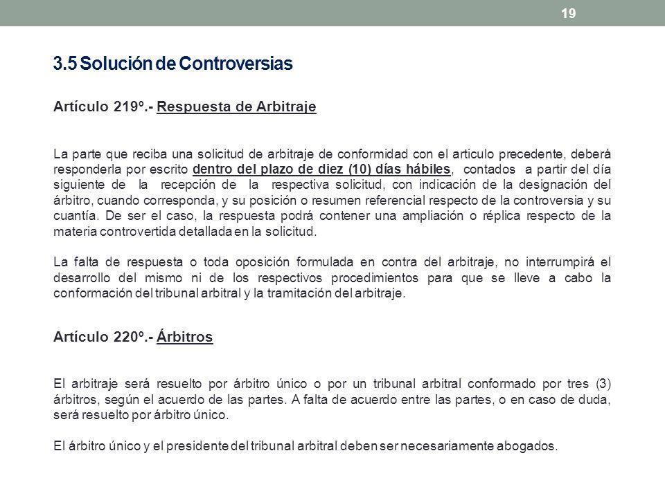 19 Artículo 219º.- Respuesta de Arbitraje La parte que reciba una solicitud de arbitraje de conformidad con el articulo precedente, deberá responderla