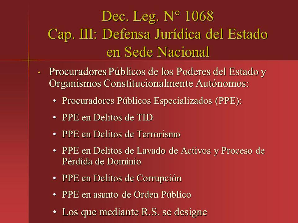 Dec. Leg. N° 1068 Cap. III: Defensa Jurídica del Estado en Sede Nacional Procuradores Públicos de los Poderes del Estado y Organismos Constitucionalme