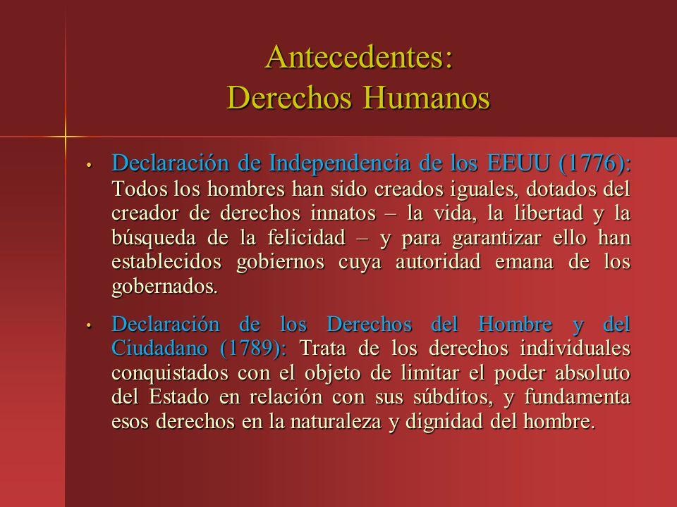 Antecedentes: Derechos Humanos Declaración de Independencia de los EEUU (1776): Todos los hombres han sido creados iguales, dotados del creador de der