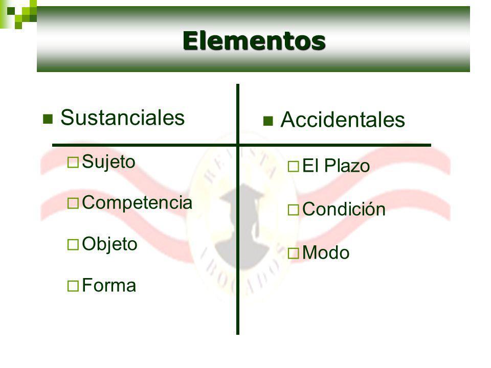 Sustanciales Sujeto Competencia Objeto Forma Accidentales El Plazo Condición Modo Elementos
