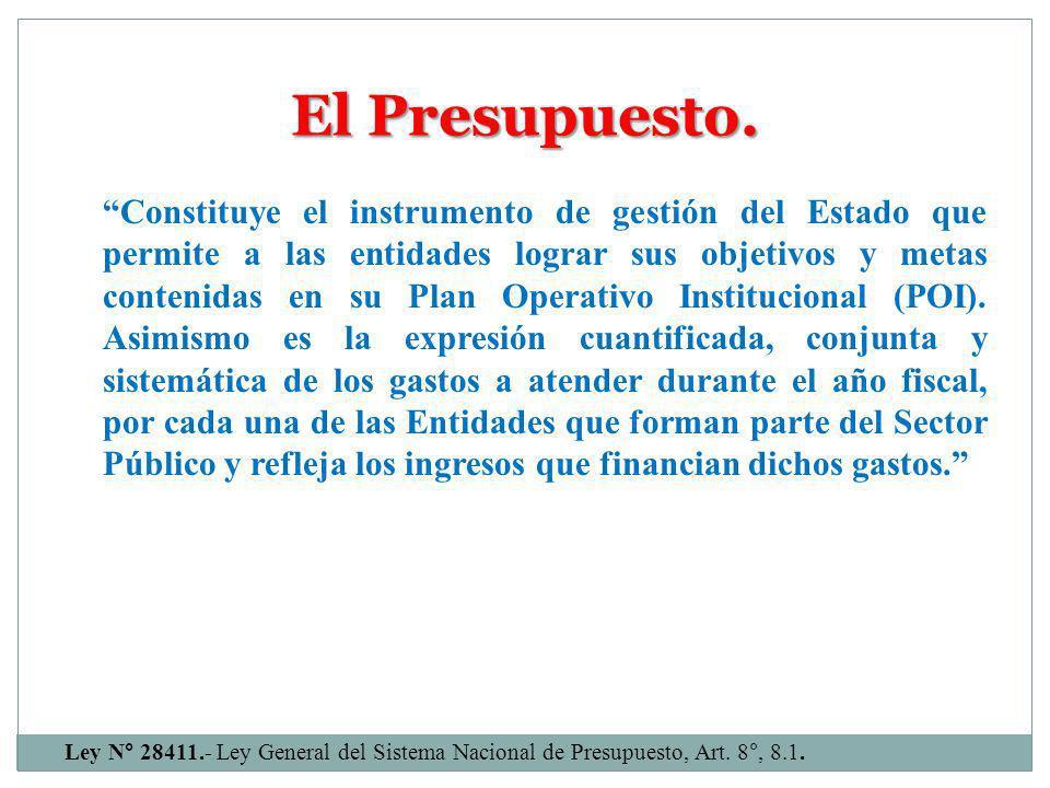 * Ley N° 28411, Ley General del Sistema Nacional de Presupuesto, Artículo 6°.
