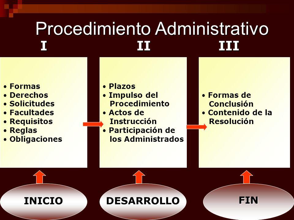 Procedimiento Administrativo Formas Derechos Solicitudes Facultades Requisitos Reglas ObligacionesIII Plazos Impulso del Procedimiento Actos de Instru