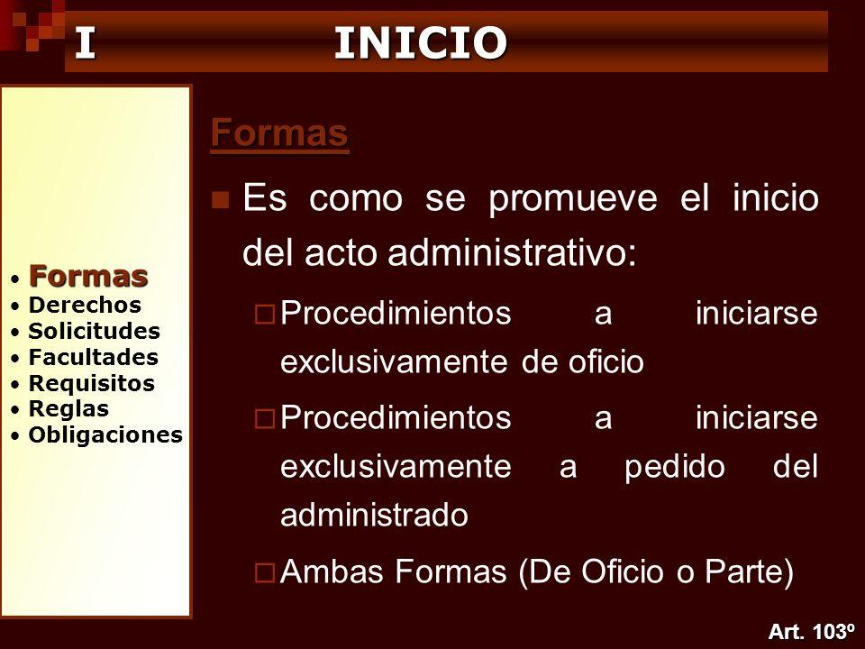 Formas Derechos Solicitudes Facultades Requisitos Reglas Obligaciones I INICIO Formas Es como se promueve el inicio del acto administrativo: Procedimi