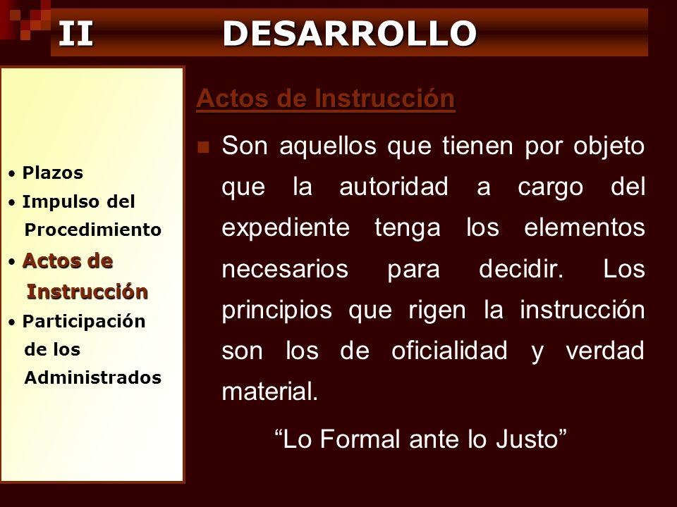 Plazos Impulso del Procedimiento Actos de Instrucción Instrucción Participación de los Administrados IIDESARROLLO II DESARROLLO Actos de Instrucción S