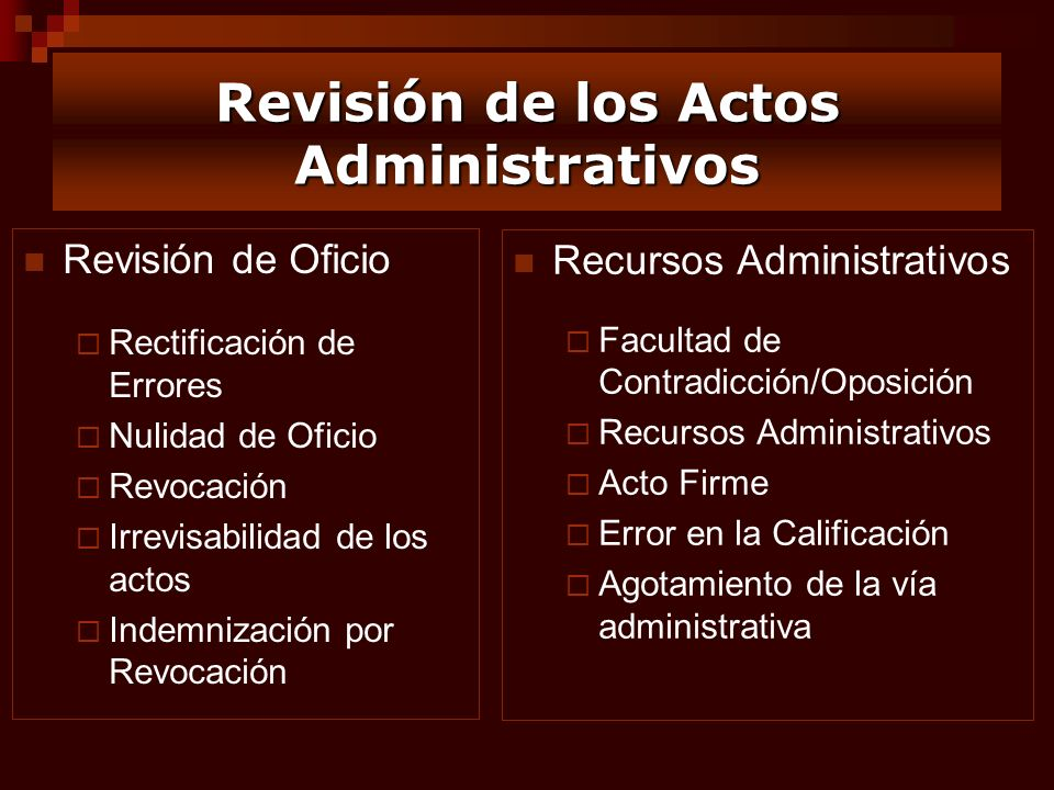 Revisión de los Actos Administrativos Revisión de Oficio Rectificación de Errores Nulidad de Oficio Revocación Irrevisabilidad de los actos Indemnizac