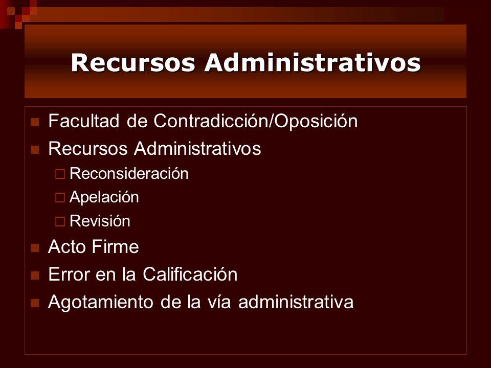 Recursos Administrativos Facultad de Contradicción/Oposición Recursos Administrativos Reconsideración Apelación Revisión Acto Firme Error en la Califi