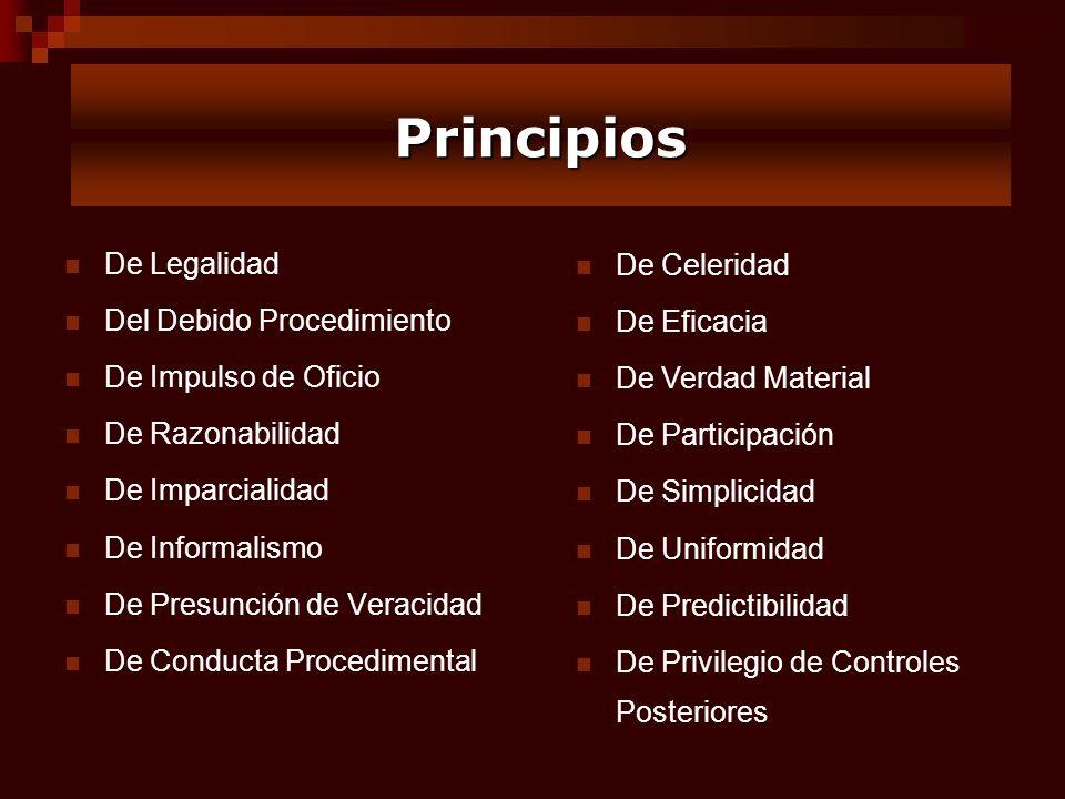 De Legalidad Del Debido Procedimiento De Impulso de Oficio De Razonabilidad De Imparcialidad De Informalismo De Presunción de Veracidad De Conducta Pr