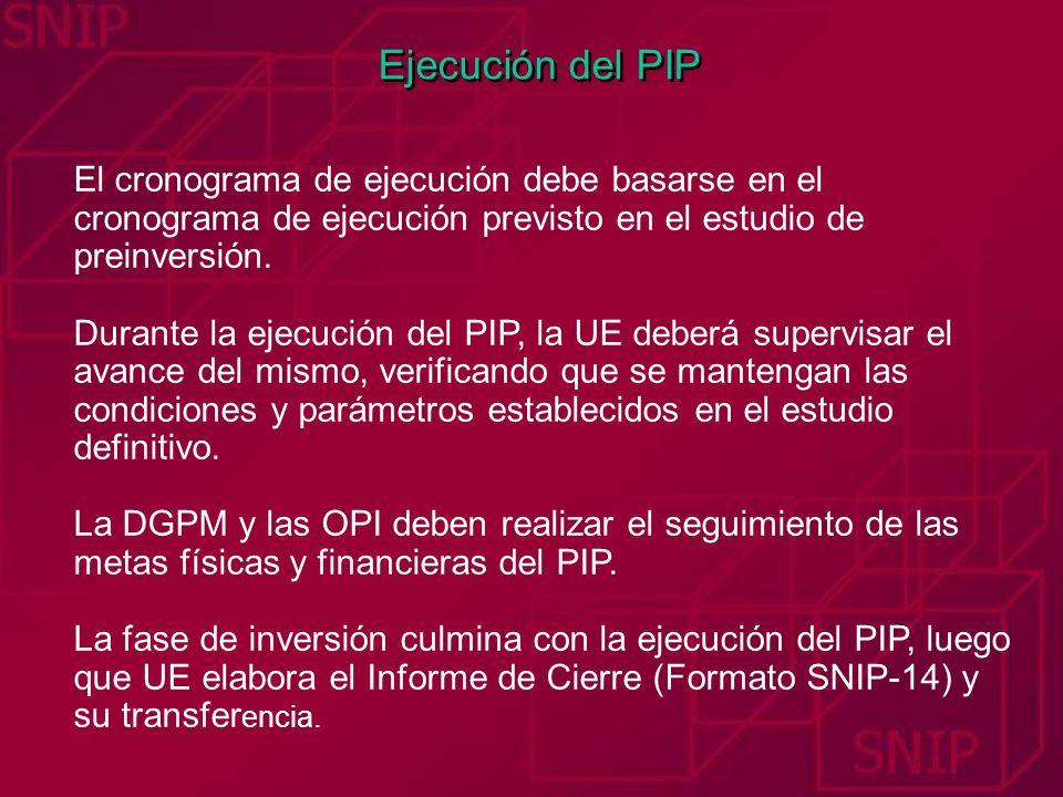 Ejecución del PIP El cronograma de ejecución debe basarse en el cronograma de ejecución previsto en el estudio de preinversión. Durante la ejecución d
